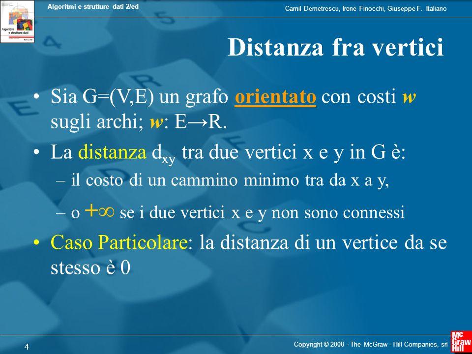 Distanza fra vertici Sia G=(V,E) un grafo orientato con costi w sugli archi; w: E→R. La distanza dxy tra due vertici x e y in G è:
