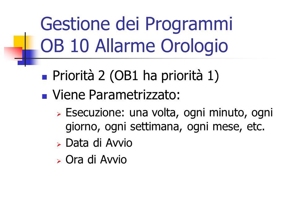Gestione dei Programmi OB 10 Allarme Orologio