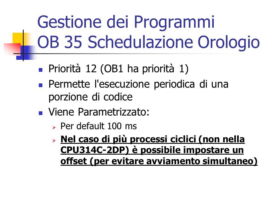 Gestione dei Programmi OB 35 Schedulazione Orologio