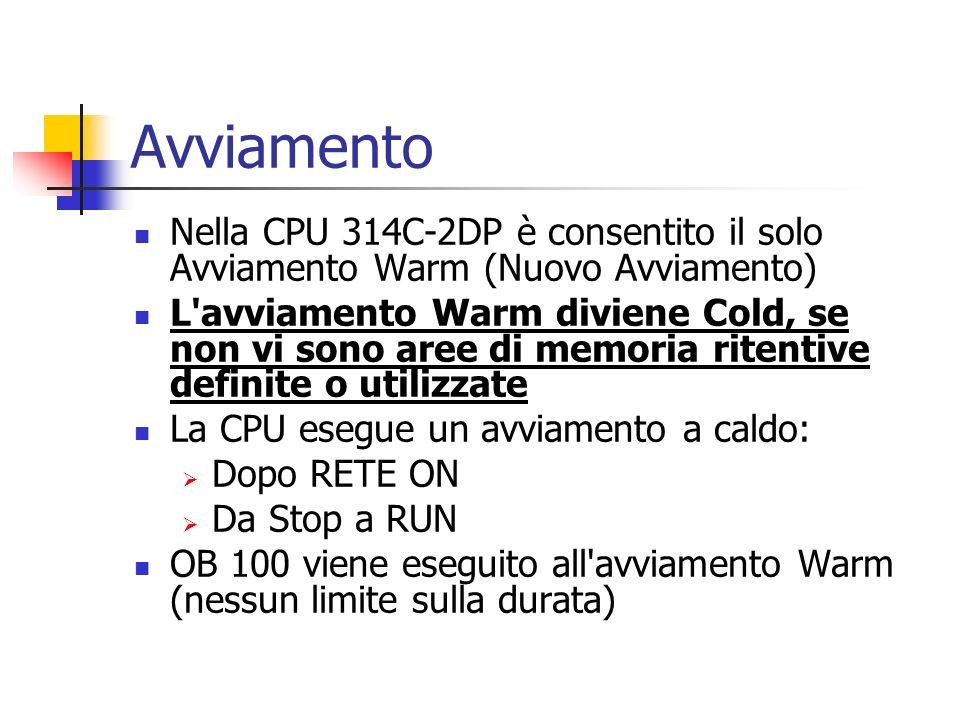 Avviamento Nella CPU 314C-2DP è consentito il solo Avviamento Warm (Nuovo Avviamento)