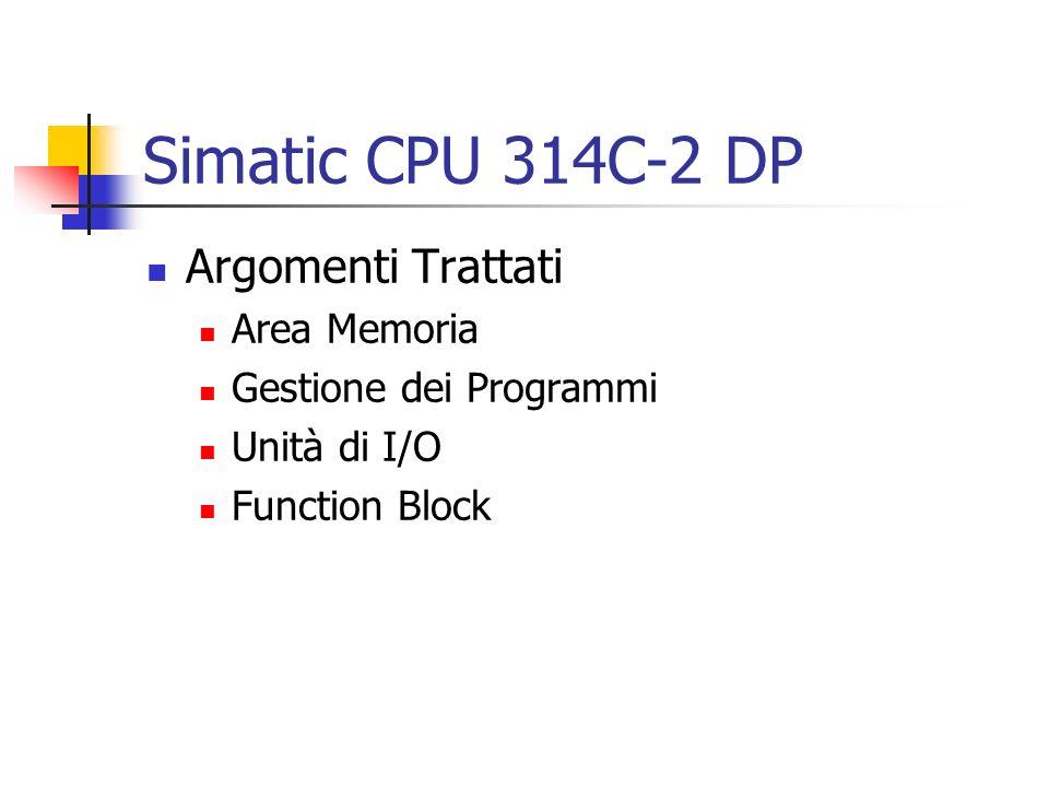 Simatic CPU 314C-2 DP Argomenti Trattati Area Memoria