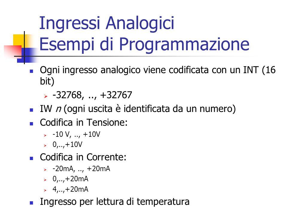 Ingressi Analogici Esempi di Programmazione
