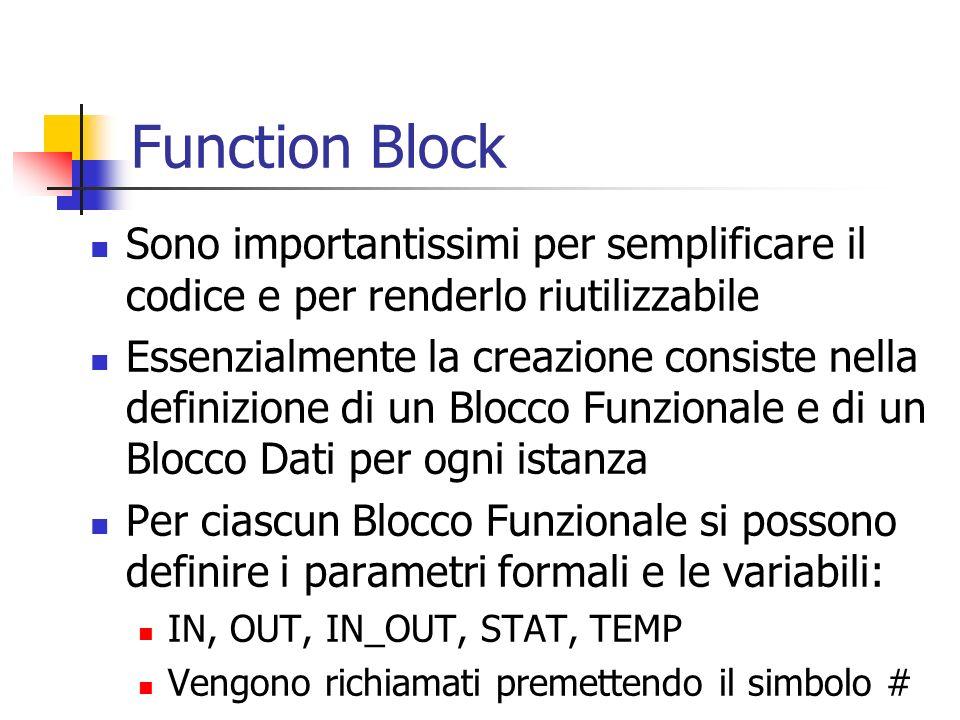 Function Block Sono importantissimi per semplificare il codice e per renderlo riutilizzabile.