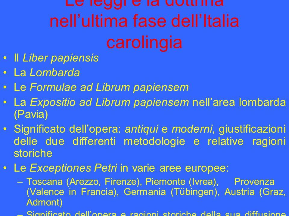 Le leggi e la dottrina nell'ultima fase dell'Italia carolingia