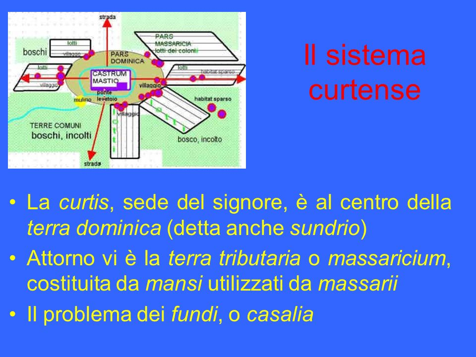 Il sistema curtense La curtis, sede del signore, è al centro della terra dominica (detta anche sundrio)