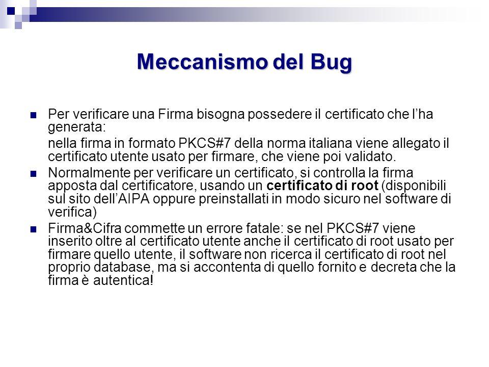 Meccanismo del Bug Per verificare una Firma bisogna possedere il certificato che l'ha generata: