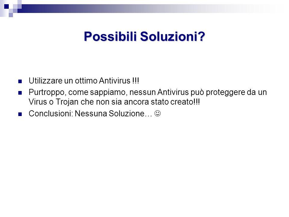 Possibili Soluzioni Utilizzare un ottimo Antivirus !!!