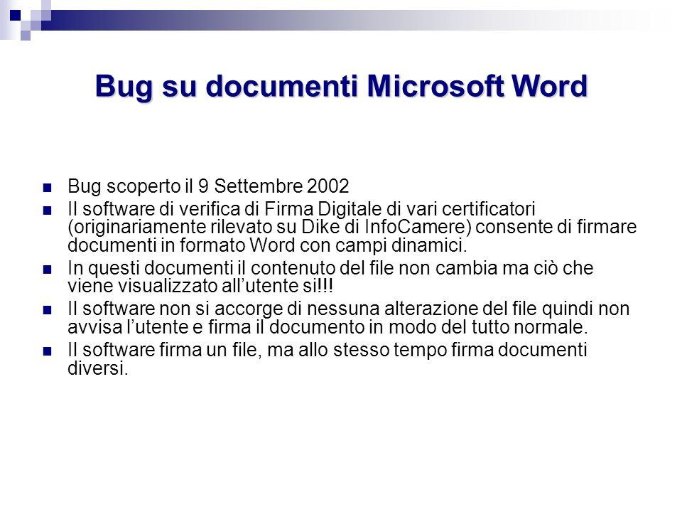 Bug su documenti Microsoft Word