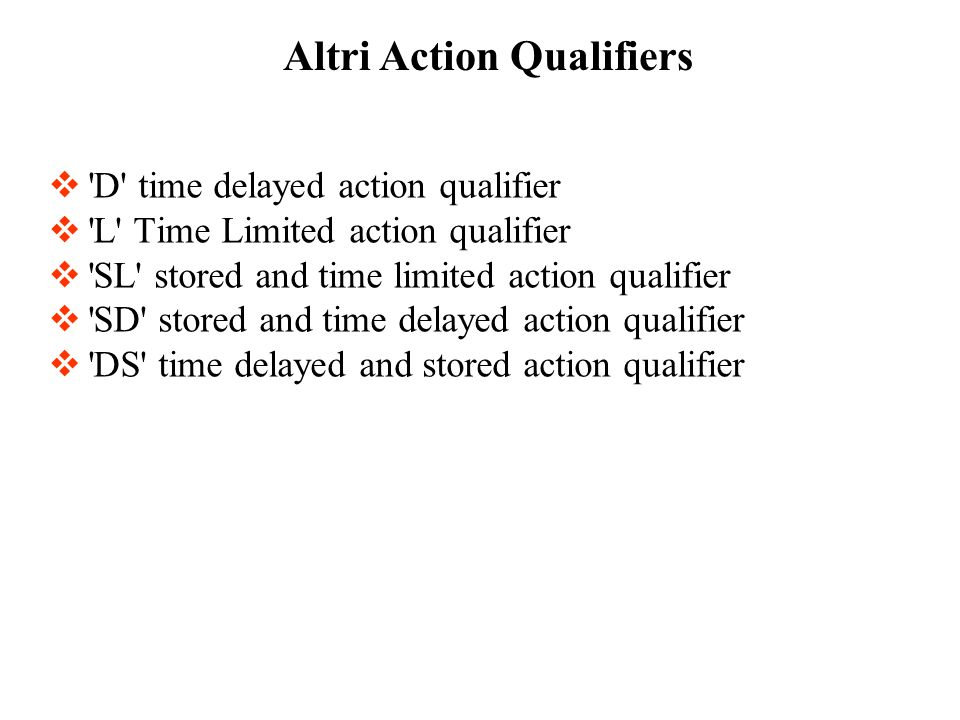 Altri Action Qualifiers