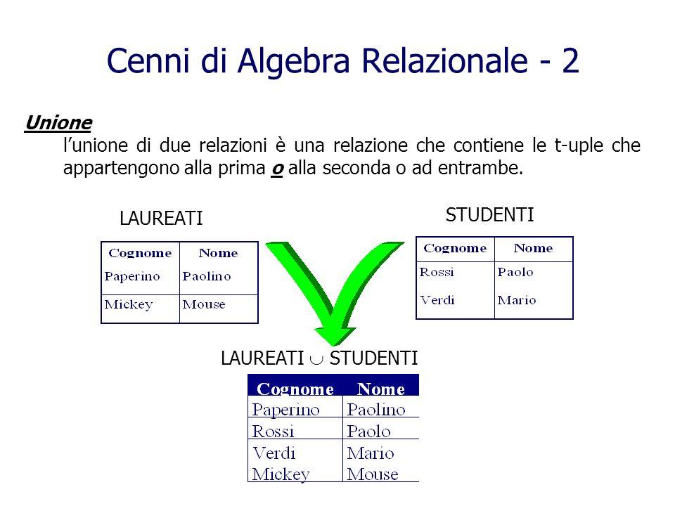 Cenni di Algebra Relazionale - 2