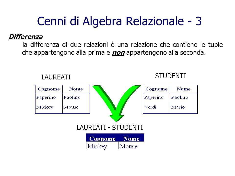 Cenni di Algebra Relazionale - 3