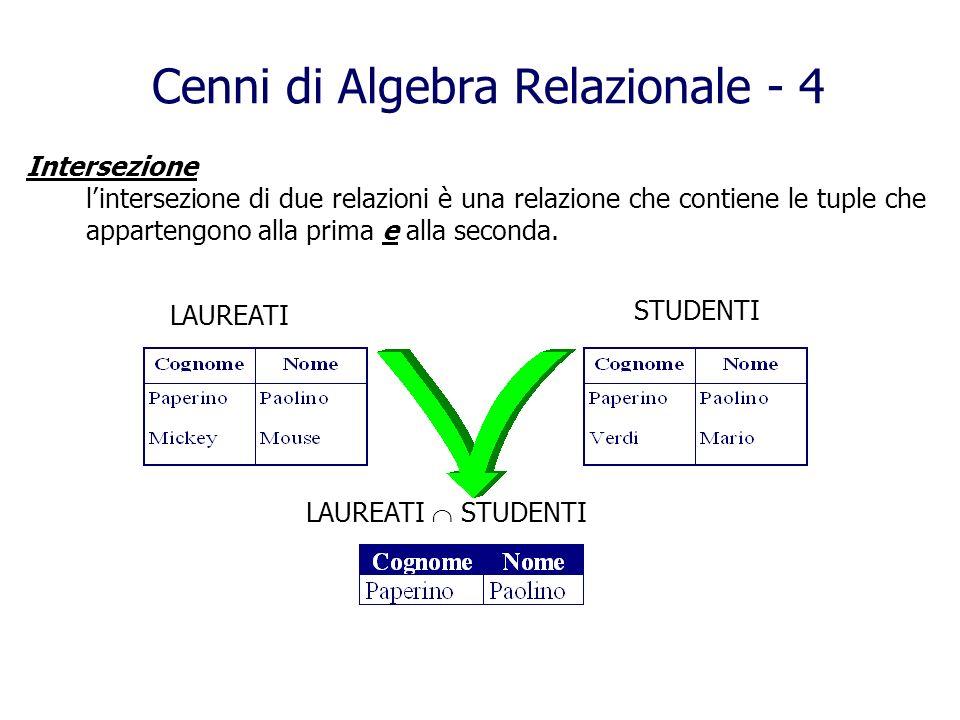 Cenni di Algebra Relazionale - 4