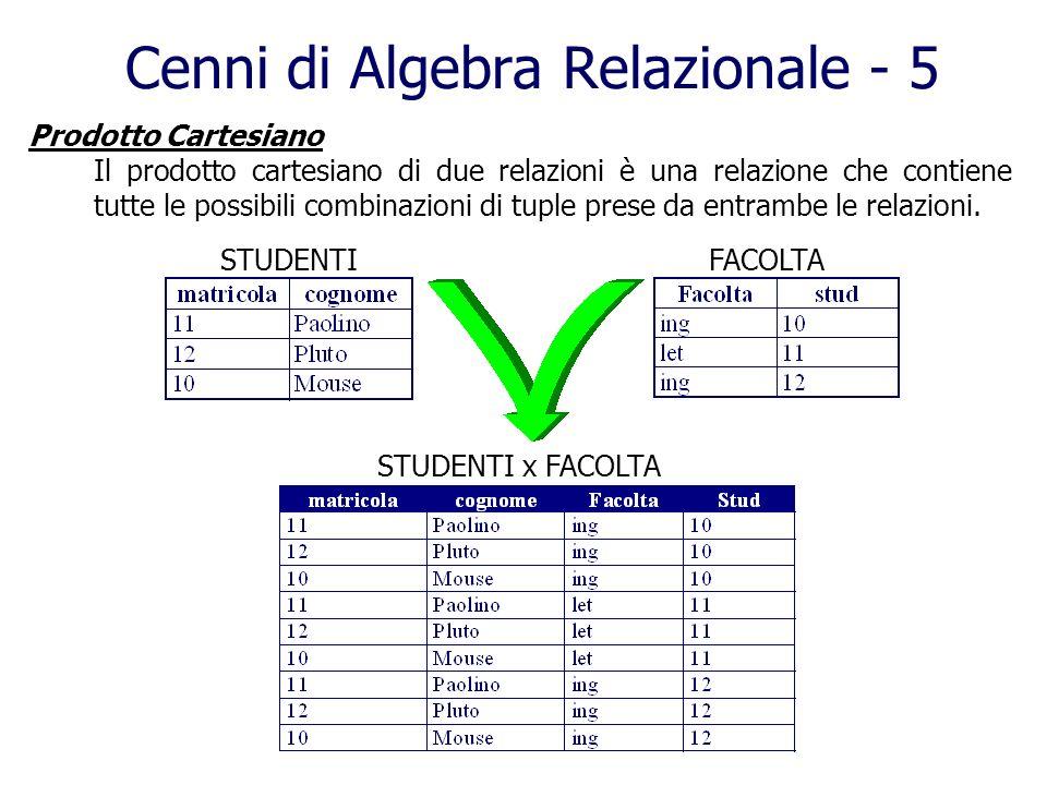 Cenni di Algebra Relazionale - 5