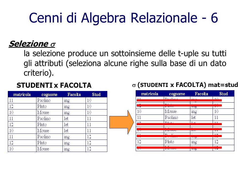 Cenni di Algebra Relazionale - 6
