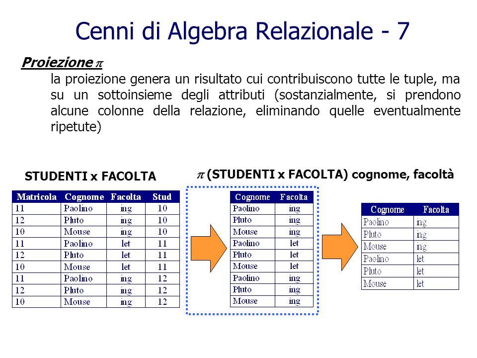 Cenni di Algebra Relazionale - 7