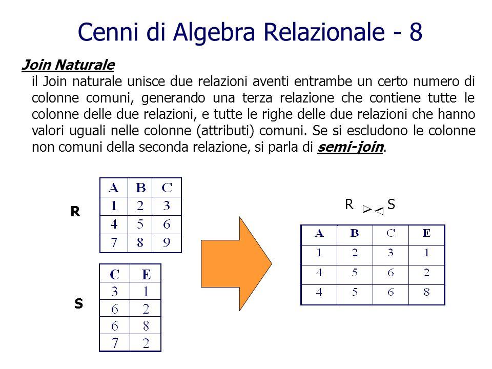 Cenni di Algebra Relazionale - 8