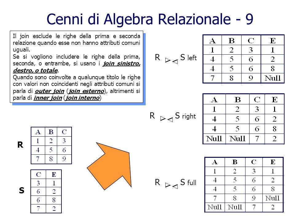 Cenni di Algebra Relazionale - 9