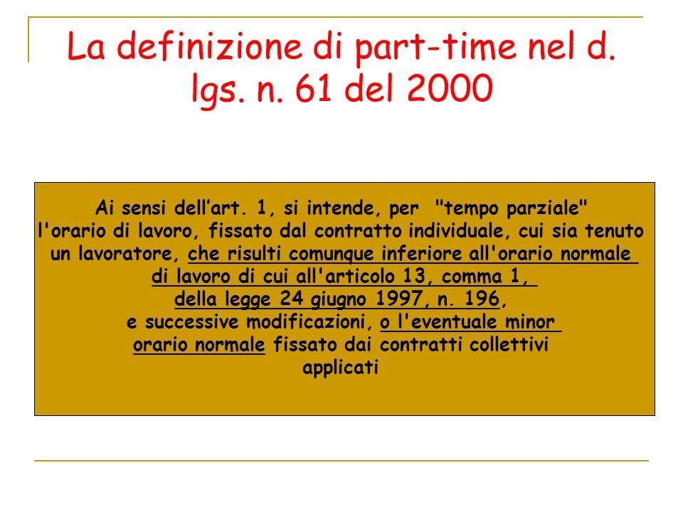 La definizione di part-time nel d. lgs. n. 61 del 2000