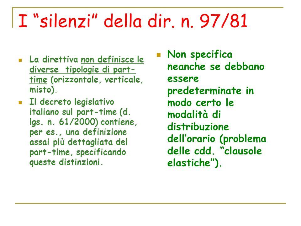 I silenzi della dir. n. 97/81