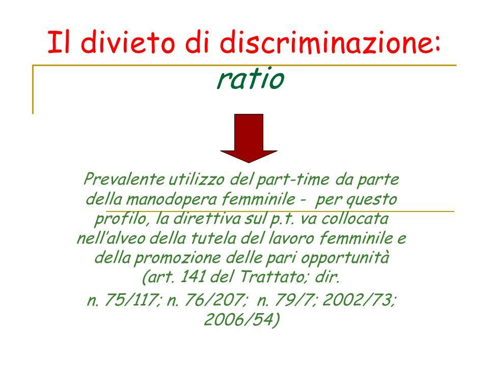 Il divieto di discriminazione: ratio