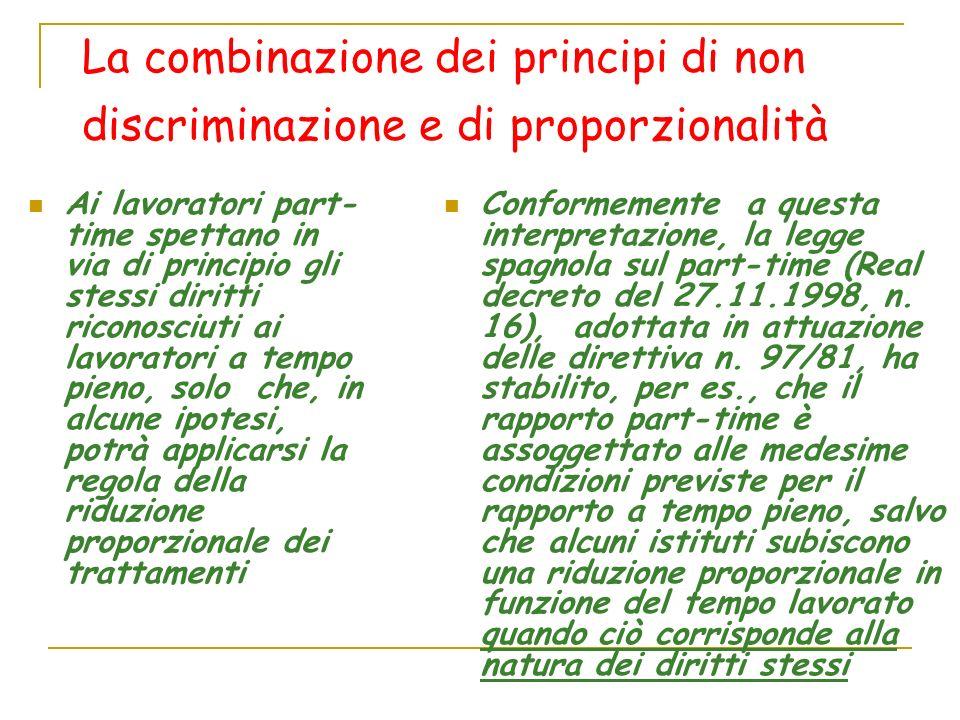 La combinazione dei principi di non discriminazione e di proporzionalità