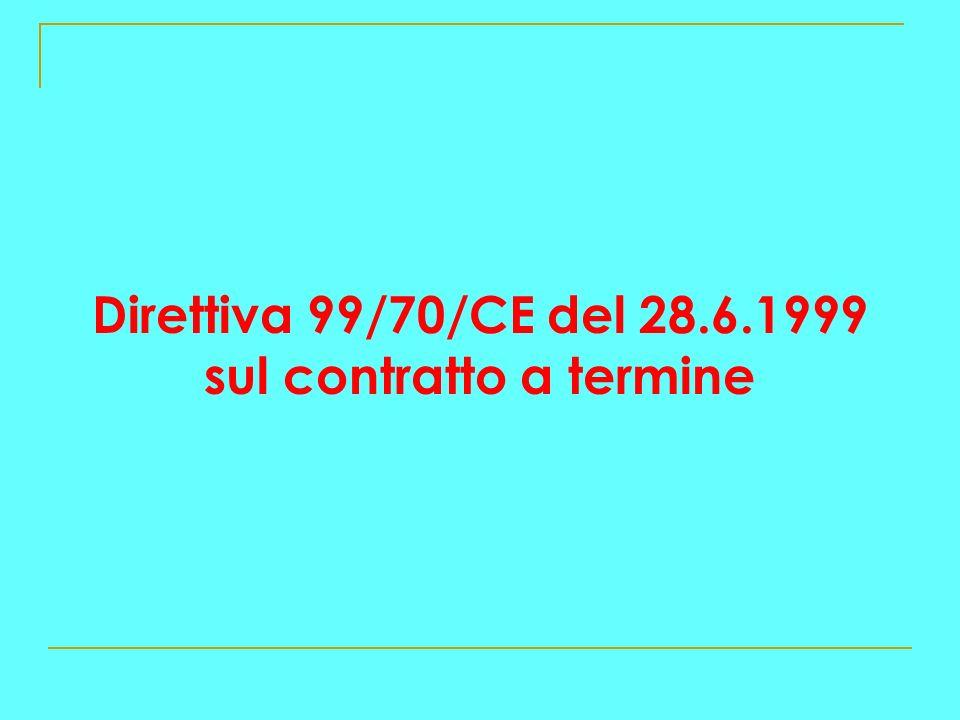 Direttiva 99/70/CE del 28.6.1999 sul contratto a termine