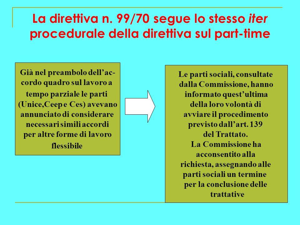 La direttiva n. 99/70 segue lo stesso iter procedurale della direttiva sul part-time