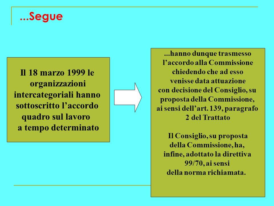 ...Segue Il 18 marzo 1999 le organizzazioni intercategoriali hanno