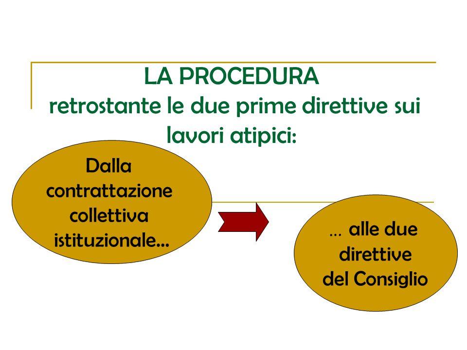 LA PROCEDURA retrostante le due prime direttive sui lavori atipici: