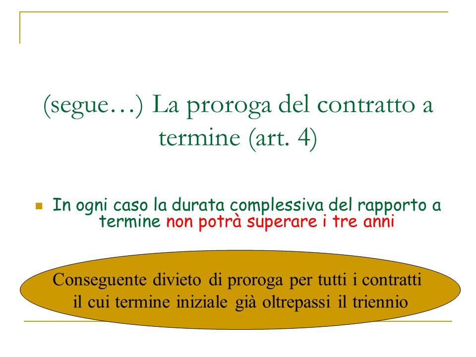(segue…) La proroga del contratto a termine (art. 4)