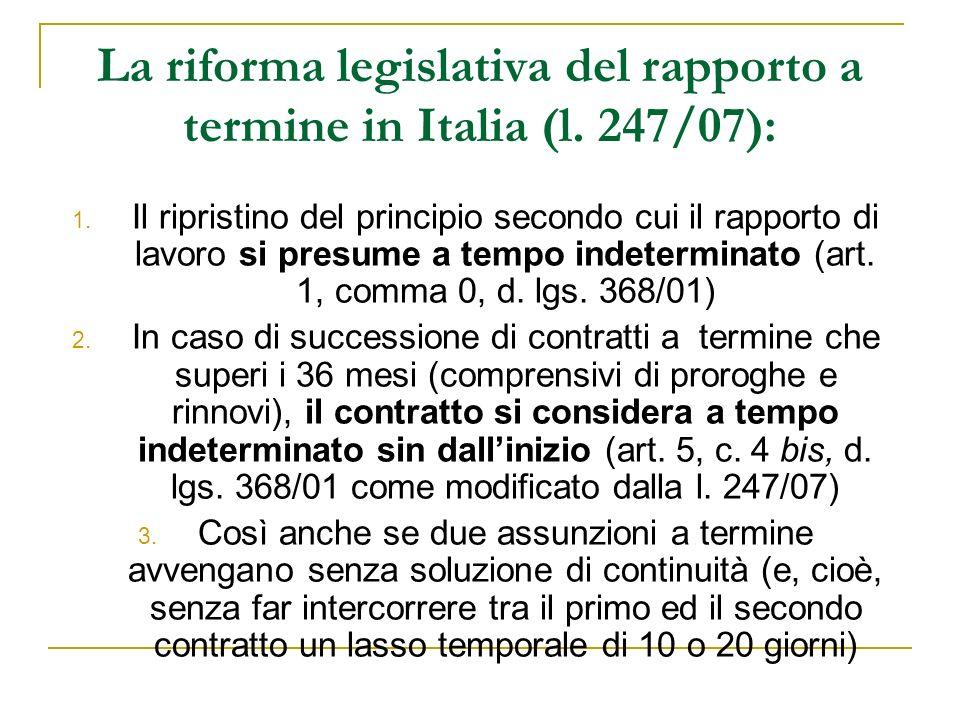 La riforma legislativa del rapporto a termine in Italia (l. 247/07):