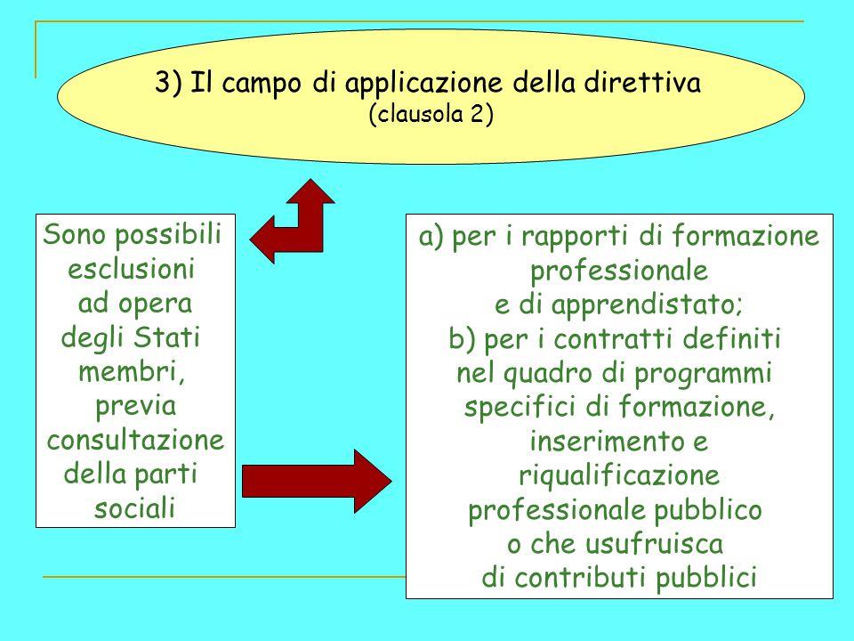3) Il campo di applicazione della direttiva