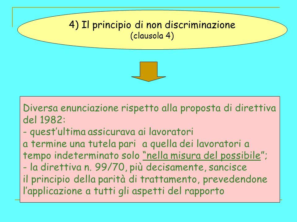 4) Il principio di non discriminazione