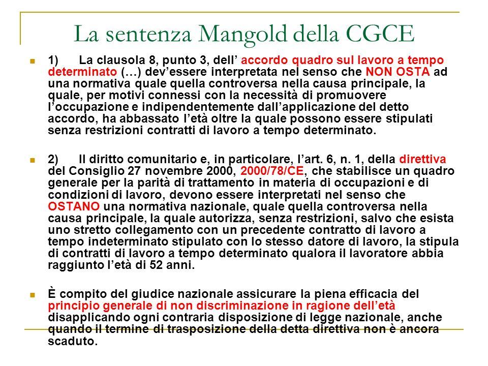 La sentenza Mangold della CGCE