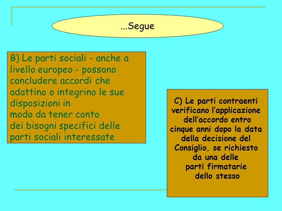 B) Le parti sociali - anche a livello europeo - possono