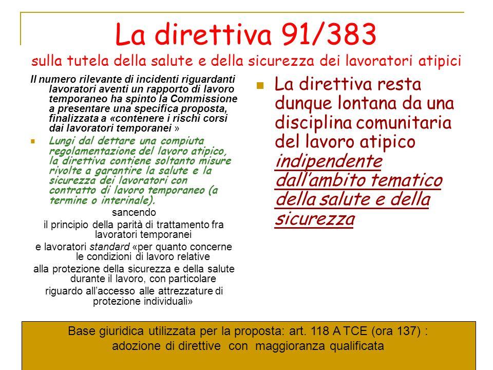 La direttiva 91/383 sulla tutela della salute e della sicurezza dei lavoratori atipici