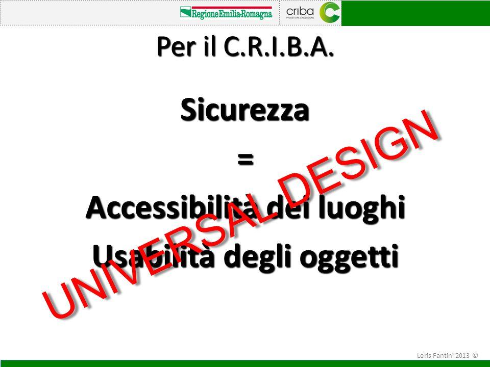 Sicurezza = Accessibilità dei luoghi Usabilità degli oggetti