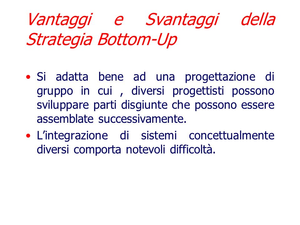 Vantaggi e Svantaggi della Strategia Bottom-Up