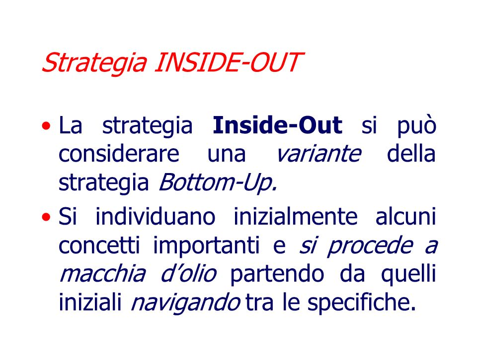 Strategia INSIDE-OUT La strategia Inside-Out si può considerare una variante della strategia Bottom-Up.