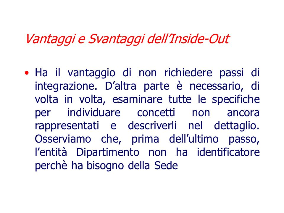 Vantaggi e Svantaggi dell'Inside-Out