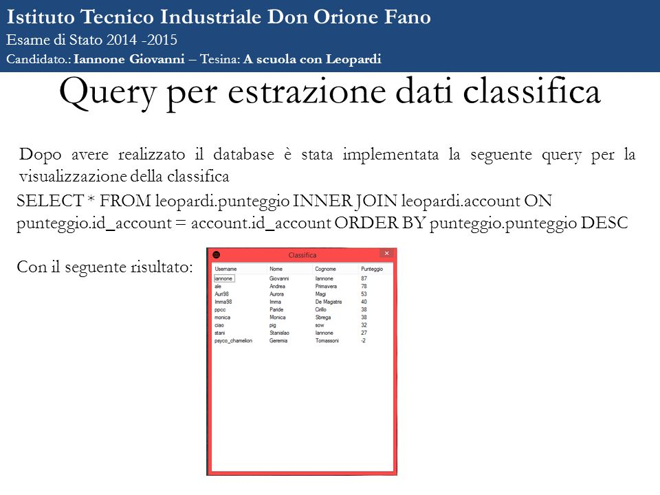 Query per estrazione dati classifica