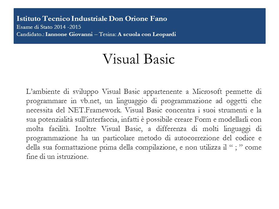 Istituto Tecnico Industriale Don Orione Fano Esame di Stato 2014 -2015 Candidato.: Iannone Giovanni – Tesina: A scuola con Leopardi
