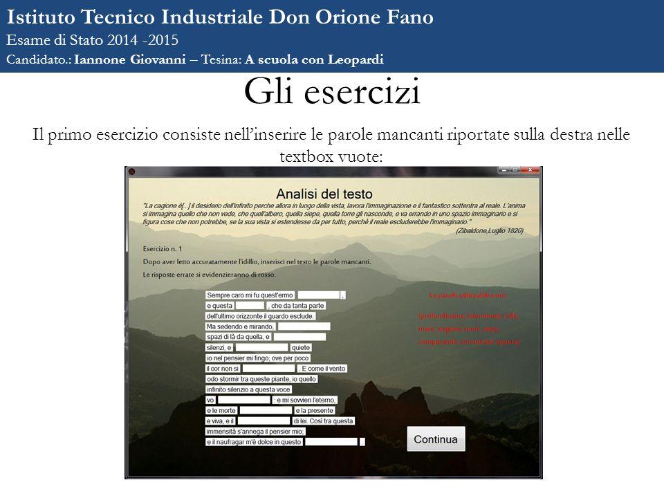 Gli esercizi Istituto Tecnico Industriale Don Orione Fano