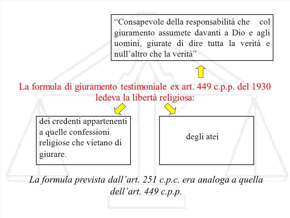 La formula di giuramento testimoniale ex art. 449 c.p.p. del 1930