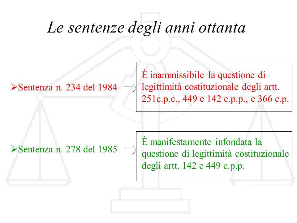 Le sentenze degli anni ottanta