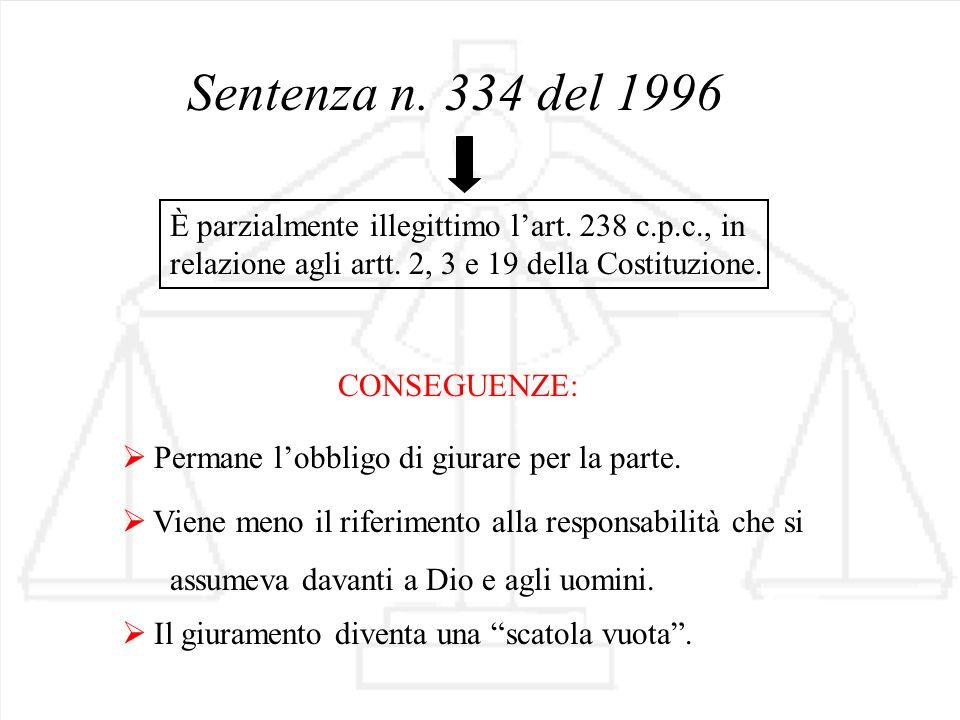 Sentenza n. 334 del 1996 È parzialmente illegittimo l'art. 238 c.p.c., in relazione agli artt. 2, 3 e 19 della Costituzione.