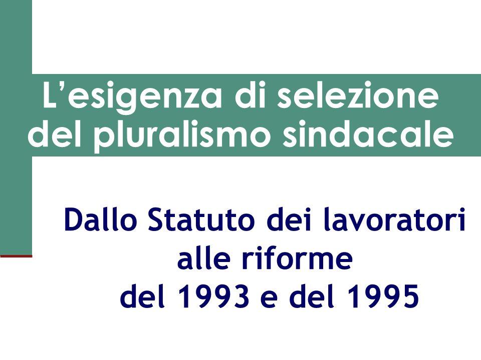 L'esigenza di selezione del pluralismo sindacale