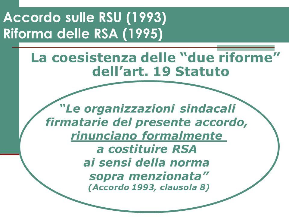 Accordo sulle RSU (1993) Riforma delle RSA (1995)