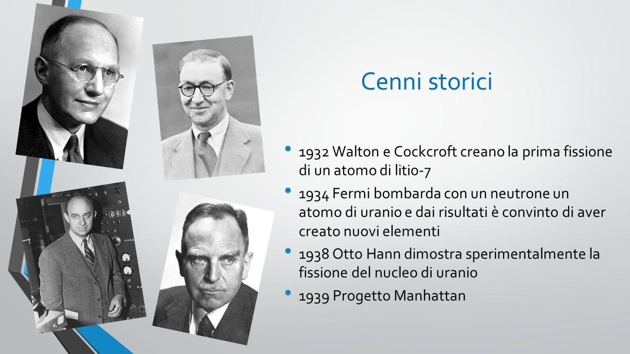 Cenni storici 1932 Walton e Cockcroft creano la prima fissione di un atomo di litio-7.