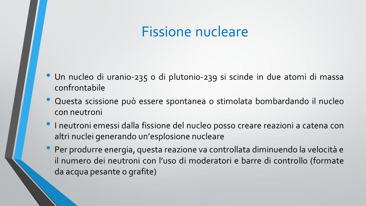 Fissione nucleare Un nucleo di uranio-235 o di plutonio-239 si scinde in due atomi di massa confrontabile.